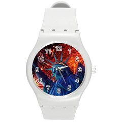 Statue Of Liberty Fireworks At Night United States Of America Round Plastic Sport Watch (m) by Onesevenart