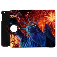 Statue Of Liberty Fireworks At Night United States Of America Apple Ipad Mini Flip 360 Case by Onesevenart