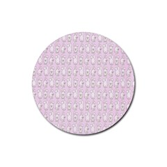 Rabbit Pink Animals Rubber Coaster (round)  by AnjaniArt