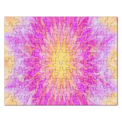 Round Bright Pink Flower Floral Rectangular Jigsaw Puzzl by AnjaniArt