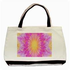 Round Bright Pink Flower Floral Basic Tote Bag by AnjaniArt