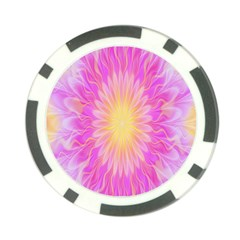 Round Bright Pink Flower Floral Poker Chip Card Guard by AnjaniArt