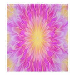 Round Bright Pink Flower Floral Shower Curtain 66  X 72  (large)  by AnjaniArt