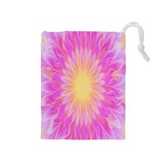 Round Bright Pink Flower Floral Drawstring Pouches (medium)