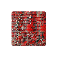 Red Circle Square Magnet