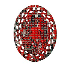 Red Circle Ornament (oval Filigree) by AnjaniArt