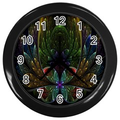 Rose Flower Floral Gold Wall Clocks (black) by AnjaniArt