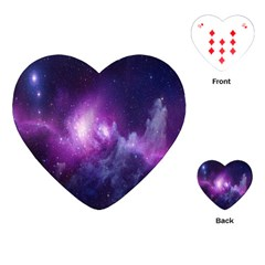 Galaxy Space Purple Playing Cards (heart)  by AnjaniArt