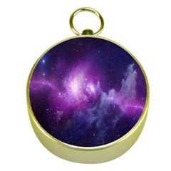 Galaxy Space Purple Gold Compasses by AnjaniArt