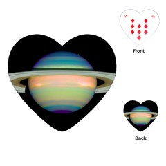 True Color Variety Of The Planet Saturn Playing Cards (heart)  by Onesevenart