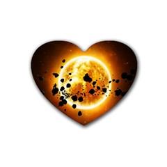 Sun Man Rubber Coaster (heart)  by Onesevenart