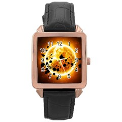 Sun Man Rose Gold Leather Watch  by Onesevenart