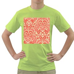 Red Floral Green T Shirt