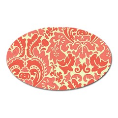 Red Floral Oval Magnet