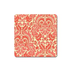 Red Floral Square Magnet