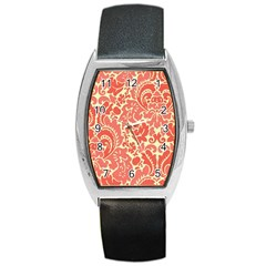 Red Floral Barrel Style Metal Watch by AnjaniArt