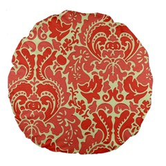 Red Floral Large 18  Premium Flano Round Cushions by AnjaniArt