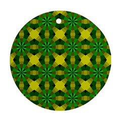Background Colour Circle Yellow Green Ornament (round) by AnjaniArt