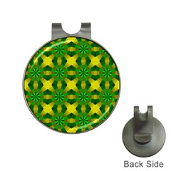 Background Colour Circle Yellow Green Hat Clips With Golf Markers by AnjaniArt