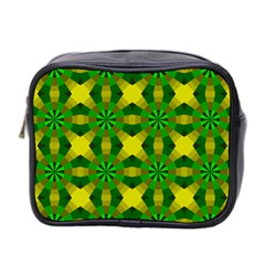 Background Colour Circle Yellow Green Mini Toiletries Bag 2 Side by AnjaniArt