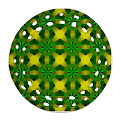 Background Colour Circle Yellow Green Ornament (round Filigree) by AnjaniArt