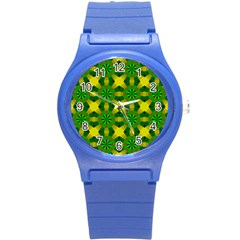 Background Colour Circle Yellow Green Round Plastic Sport Watch (s) by AnjaniArt