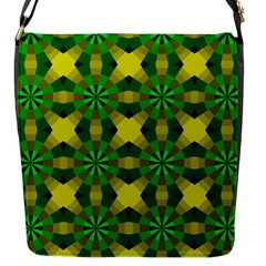 Background Colour Circle Yellow Green Flap Messenger Bag (s) by AnjaniArt
