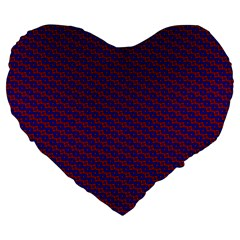 Chain Blue Red Woven Fabric Large 19  Premium Flano Heart Shape Cushions by AnjaniArt
