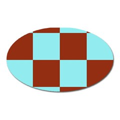 Box Chevron Brown Blue Oval Magnet by AnjaniArt