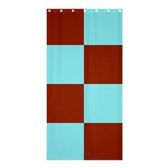 Box Chevron Brown Blue Shower Curtain 36  X 72  (stall)  by AnjaniArt