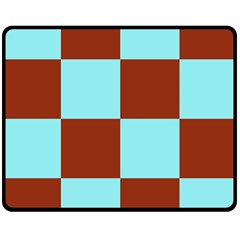 Box Chevron Brown Blue Double Sided Fleece Blanket (medium)  by AnjaniArt