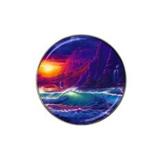 Sunset Orange Sky Dark Cloud Sea Waves Of The Sea, Rocky Mountains Art Hat Clip Ball Marker (4 Pack) by Onesevenart