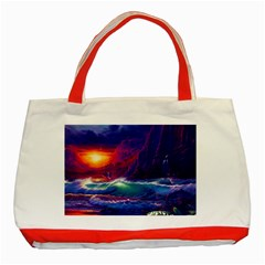 Sunset Orange Sky Dark Cloud Sea Waves Of The Sea, Rocky Mountains Art Classic Tote Bag (red) by Onesevenart