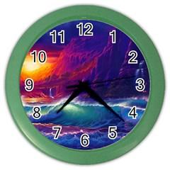 Sunset Orange Sky Dark Cloud Sea Waves Of The Sea, Rocky Mountains Art Color Wall Clocks by Onesevenart