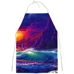 Sunset Orange Sky Dark Cloud Sea Waves Of The Sea, Rocky Mountains Art Full Print Aprons by Onesevenart