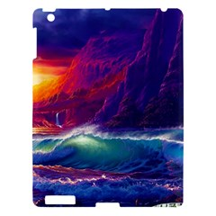 Sunset Orange Sky Dark Cloud Sea Waves Of The Sea, Rocky Mountains Art Apple Ipad 3/4 Hardshell Case by Onesevenart