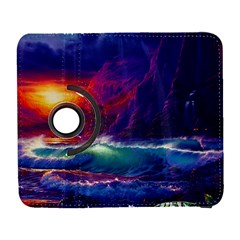 Sunset Orange Sky Dark Cloud Sea Waves Of The Sea, Rocky Mountains Art Galaxy S3 (flip/folio) by Onesevenart