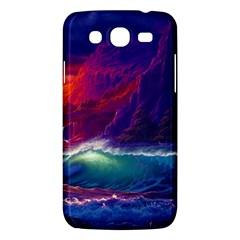 Sunset Orange Sky Dark Cloud Sea Waves Of The Sea, Rocky Mountains Art Samsung Galaxy Mega 5 8 I9152 Hardshell Case  by Onesevenart