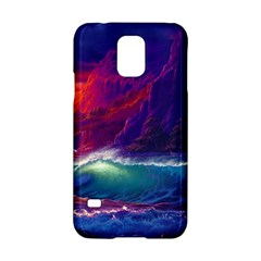 Sunset Orange Sky Dark Cloud Sea Waves Of The Sea, Rocky Mountains Art Samsung Galaxy S5 Hardshell Case  by Onesevenart
