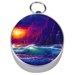 Sunset Orange Sky Dark Cloud Sea Waves Of The Sea, Rocky Mountains Art Silver Compasses by Onesevenart