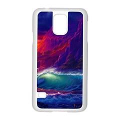 Sunset Orange Sky Dark Cloud Sea Waves Of The Sea, Rocky Mountains Art Samsung Galaxy S5 Case (white) by Onesevenart