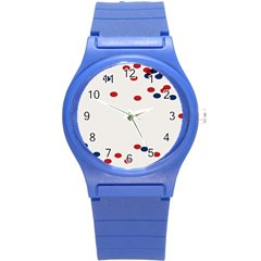 Circle Red Blue Round Plastic Sport Watch (s) by AnjaniArt