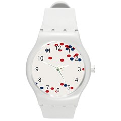 Circle Red Blue Round Plastic Sport Watch (m) by AnjaniArt