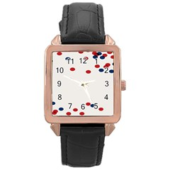 Circle Red Blue Rose Gold Leather Watch  by AnjaniArt