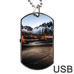 Vestrahorn Iceland Winter Sunrise Landscape Sea Coast Sandy Beach Sea Mountain Peaks With Snow Blue Dog Tag Usb Flash (two Sides) by Onesevenart