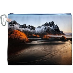 Vestrahorn Iceland Winter Sunrise Landscape Sea Coast Sandy Beach Sea Mountain Peaks With Snow Blue Canvas Cosmetic Bag (xxxl) by Onesevenart