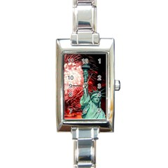 The Statue Of Liberty And 4th Of July Celebration Fireworks Rectangle Italian Charm Watch by Onesevenart