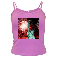 The Statue Of Liberty And 4th Of July Celebration Fireworks Dark Spaghetti Tank by Onesevenart