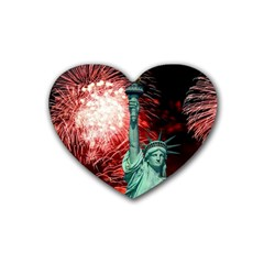 The Statue Of Liberty And 4th Of July Celebration Fireworks Heart Coaster (4 Pack)  by Onesevenart