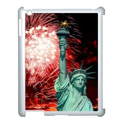 The Statue Of Liberty And 4th Of July Celebration Fireworks Apple Ipad 3/4 Case (white) by Onesevenart